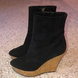 GIVENCHY black suede wedge boots- 8.5